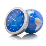 World time concept: gloube with clock Royalty Free Stock Images