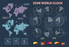 World time infographics. On the map background Royalty Free Stock Photography