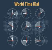 World time infographics. On the map background Stock Images