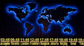 World Time with Map. World Time display with Map in Night Version Royalty Free Stock Photography