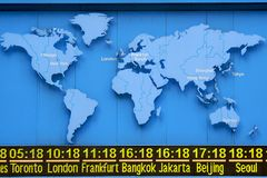 World Time with Map. World Time display with Map Stock Photography