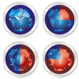 World time. Set of four clock. Royalty Free Stock Photos