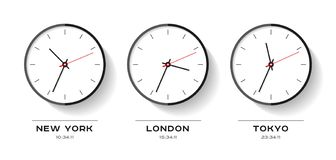 World time. Simple Clock icons in flat style. New York, London, Tokyo. Watch on white background. Business illustration for you pr. Esentation. Vector design vector illustration