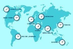 World time. Simple Clock icons on world map. Objects in flat style. New York, London, Tokyo. Watch on blue background. Business il. Lustration for you vector illustration