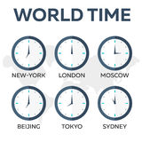 World time. Watch. Time zones. Vector flat illustration. World time. Watch. Time zones Vector flat illustration Royalty Free Stock Photo