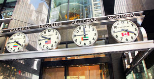 World time zone. The clocks on the tourneau store in nyc,showing different times of famous cities of the world Stock Photos
