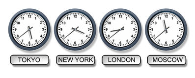 World Time Zone Clocks. With a Tokyo New York London and Moscow clock representing international business and the different times from around the world for royalty free illustration