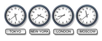 World Time Zone Clocks Royalty Free Stock Photos