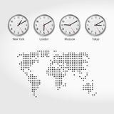 World Time Zones Clocks. Current Time in Famous Cities. Local Time Around the World. Dotted Map of the World. Vector Art vector illustration