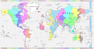 World time zones map, and political map of the world Royalty Free Stock Images