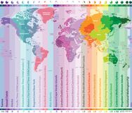 World time zones vector map with countries names and borders. World time zones vector map with countries names Royalty Free Stock Image