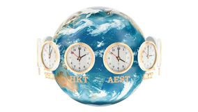 World Timezone concept. The rotating Earth and the clocks rotating around, 3D rendering stock illustration