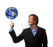 World at the tip of a finger Stock Photography