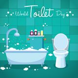 World Toilet Day, 19 November. Bathtub and toilet flush conceptual illustration vector Stock Images