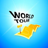 World tour concept logo, long route in travel map with guide marker Stock Photography