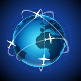 World tour with globe and plane. Illustration of world tour with globe and plane on abstract background Stock Images