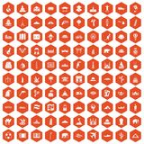 100 world tour icons hexagon orange. 100 world tour icons set in orange hexagon isolated vector illustration Stock Photos