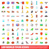 100 world tour icons set, cartoon style. 100 world tour icons set in cartoon style for any design vector illustration Royalty Free Stock Image