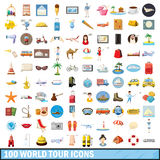 100 world tour icons set, cartoon style. 100 world tour icons set in cartoon style for any design vector illustration Stock Photos
