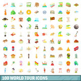 100 world tour icons set, cartoon style. 100 world tour icons set in cartoon style for any design vector illustration royalty free illustration
