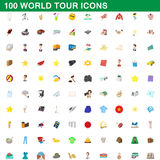 100 world tour icons set, cartoon style. 100 world tour icons set in cartoon style for any design vector illustration Stock Photo