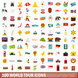100 world tour icons set, flat style. 100 world tour icons set in flat style for any design vector illustration Stock Photos