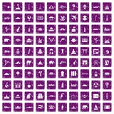 100 world tour icons set grunge purple. 100 world tour icons set in grunge style purple color isolated on white background vector illustration Royalty Free Stock Photo