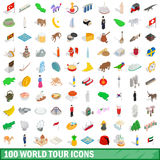 100 world tour icons set, isometric 3d style. 100 world tour icons set in isometric 3d style for any design vector illustration Royalty Free Illustration