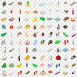 100 world tour icons set, isometric 3d style. 100 world tour icons set in isometric 3d style for any design vector illustration Royalty Free Stock Image