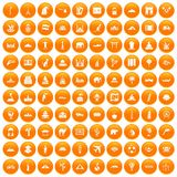 100 world tour icons set orange. 100 world tour icons set in orange circle isolated on white vector illustration Royalty Free Illustration