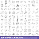 100 world tour icons set, outline style. 100 world tour icons set in outline style for any design vector illustration royalty free illustration