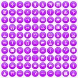 100 world tour icons set purple. 100 world tour icons set in purple circle isolated on white vector illustration royalty free illustration