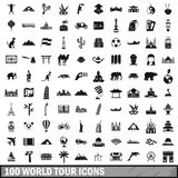 100 world tour icons set, simple style Stock Photography