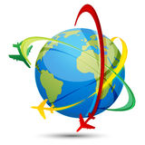 World Tour With Airplanes And Globe Stock Photo
