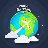 World tourism day concept, illustration of airplane with earth g. Lobe on abstract grey background. Can be Used as template or flyer design vector illustration