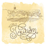 World tourism day hand lettering on watercolor background stock illustration