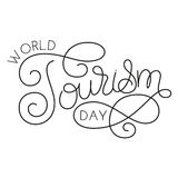 World tourism day hand lettering on white background vector illustration