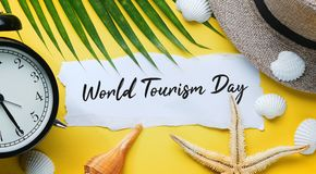 World Tourism Day Typography. Ripped Paper Between Flat Lay Summ. Er Beach Accessories stock photography