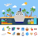 World Of Tourism Infographics. With cruise ship in center symbol of global travel statistics diagrams vector illustration Royalty Free Stock Images