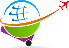 World tours and travel logo. A vector drawing represents world tours and travel logo design stock illustration