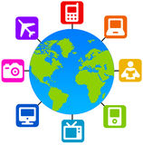 World trade. Earth globe with icons for e-commerce or global trade Stock Photo