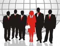 World trade. Illustration of businessmen and businesswomen with the world Stock Image