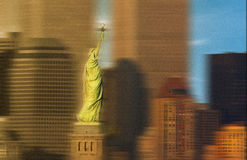 World Trade Center behind Statue of Liberty Stock Photography