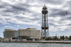World trade center and cable car in Barcelona, Spain Royalty Free Stock Photography