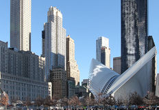 World Trade Center centre i 9/11 pamiątkowi Nowy Jork, usa Fotografia Stock