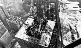 World Trade Center construction 1971. View of 65th floor World Trade Center South Tower 1971 from top of North Tower Stock Photography