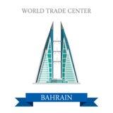 World Trade Center dans l'attraction plate de vecteur de points de repère du Bahrain Images stock
