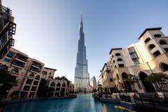 World Trade Center del Dubai e Burj Khalifa Immagini Stock Libere da Diritti