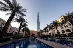 World Trade Center del Dubai e Burj Khalifa Immagine Stock Libera da Diritti