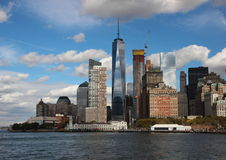 World Trade Center Freedom Tower One with Skyline and Water Stock Photos